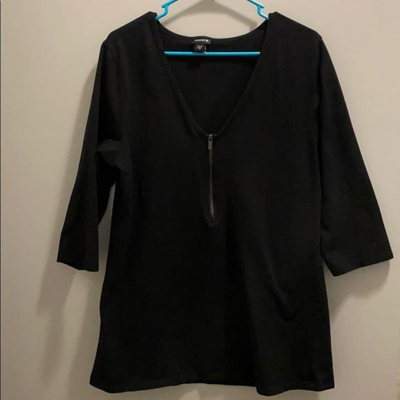Torrid 3/4sleeve zipper v neck shirt